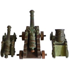 Set of Italian Military Bronze Artillery Cannons with Royal Insignia