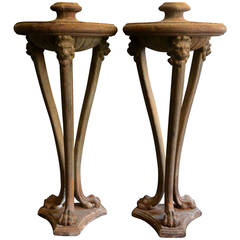Pair Large Italian Cast Iron Atheniennes