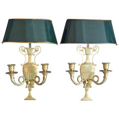 Pair of French Sconces with Tole Shades