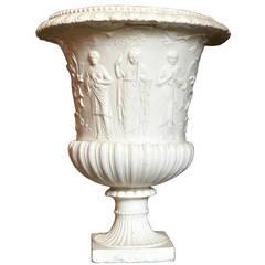 Large White Italian Earthenware Vase