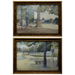 Pair of Watercolours with Jardin du Luxembourg Views