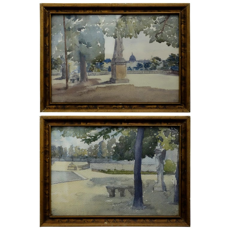 Pair of Watercolours with Jardin du Luxembourg Views For Sale