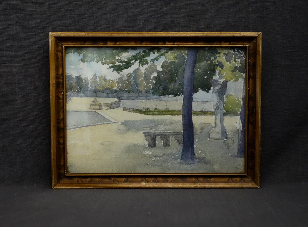 Pair of Watercolours with Jardin du Luxembourg views. Pair of American watercolours with views in the Jardin de Luxembourg, Paris, circa 1910 in original frames.  Dimension each: 11.75