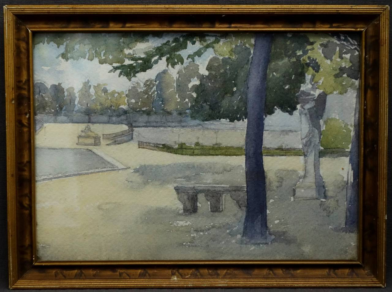 Pair of Watercolours with Jardin du Luxembourg Views In Good Condition For Sale In New York, NY