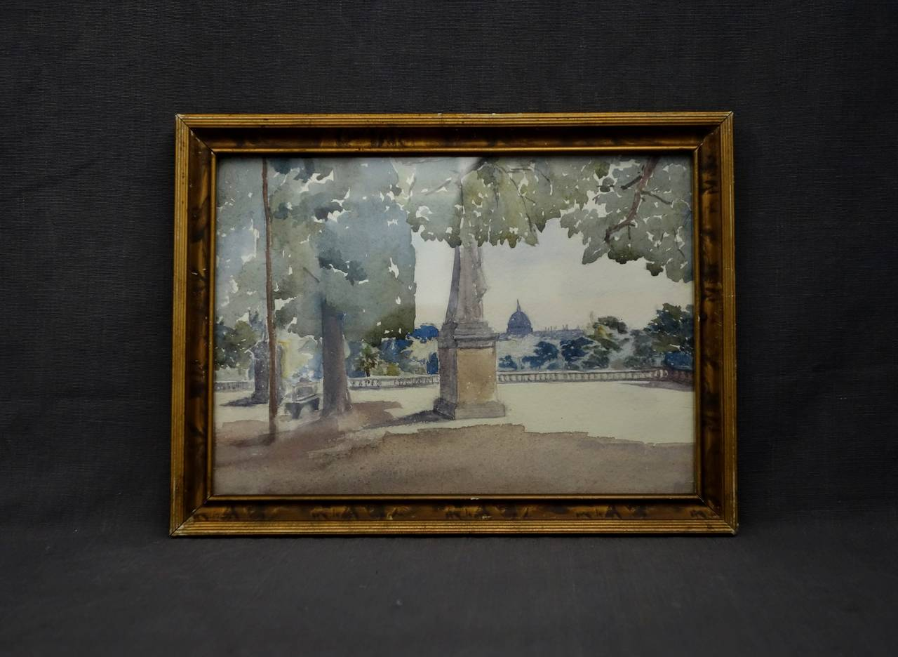 French Pair of Watercolours with Jardin du Luxembourg Views For Sale