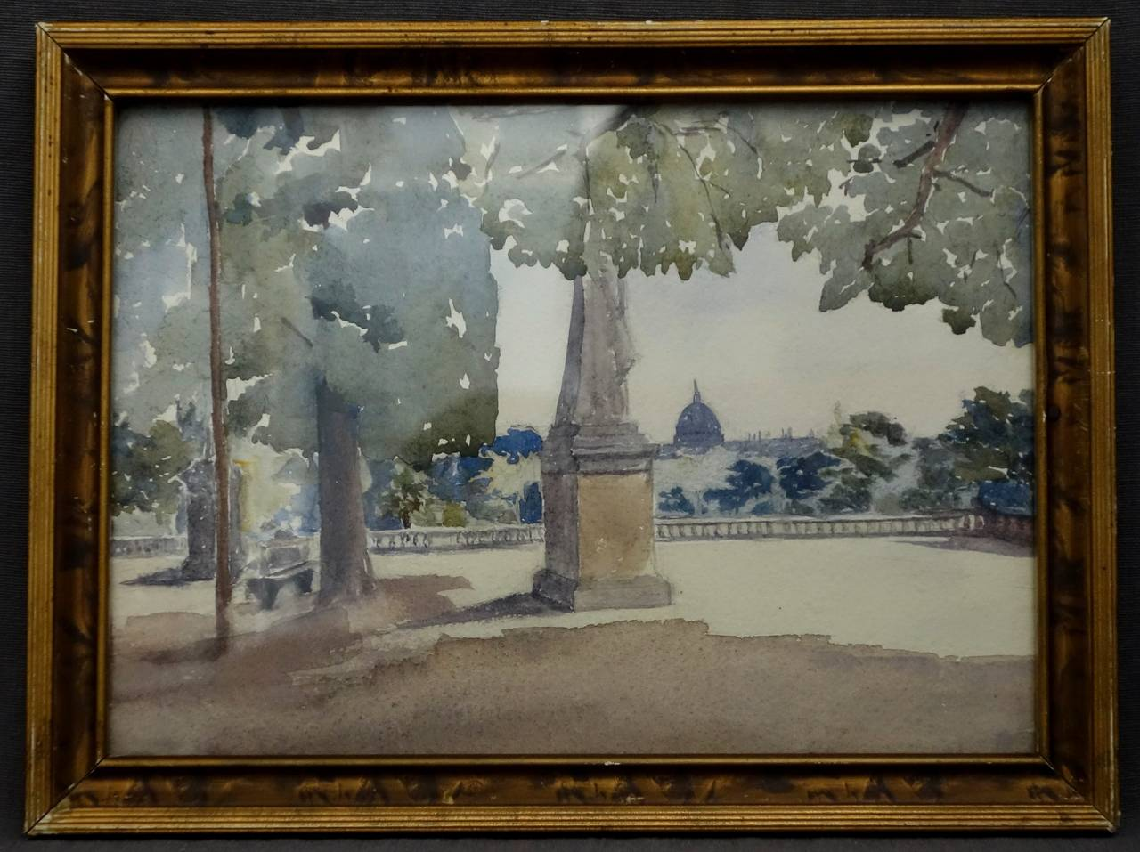 20th Century Pair of Watercolours with Jardin du Luxembourg Views For Sale