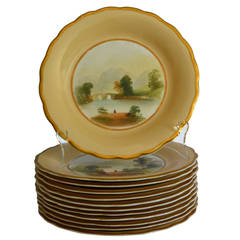 Set of 12 Gilt-Rimmed Dessert Plates and Cake Stand with Scottish Scenes