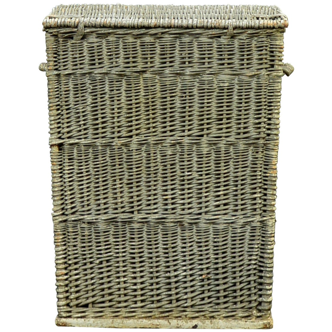 Large Painted Wicker Basket At 1stdibs