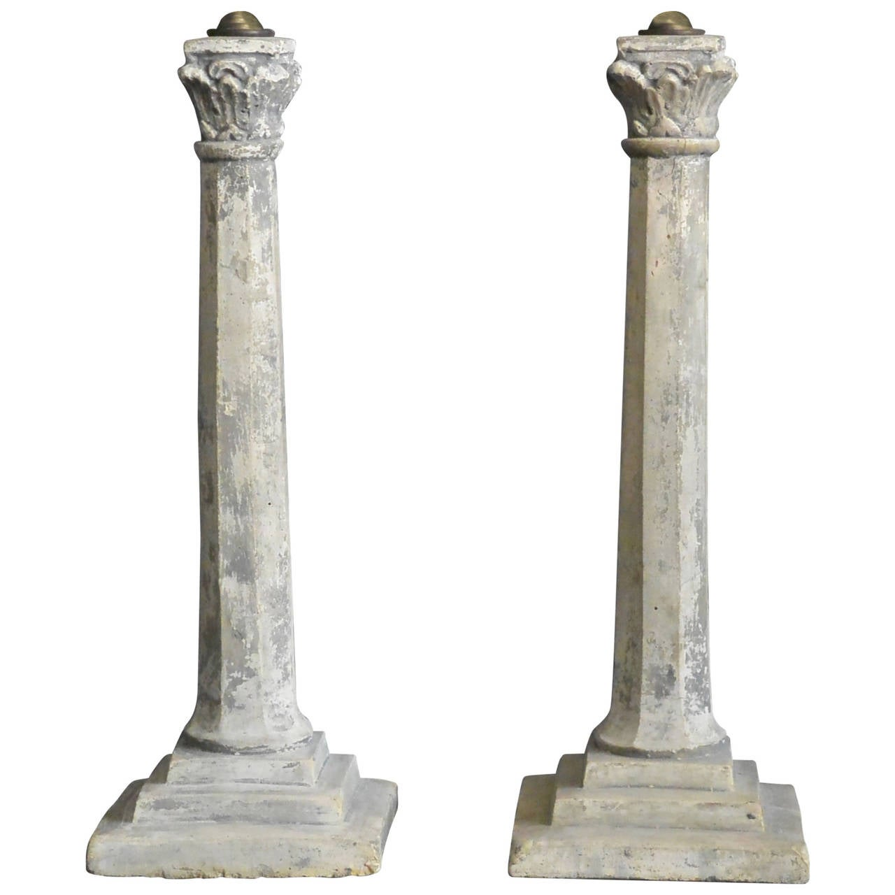 Pair of Continental Plaster Column Lamps