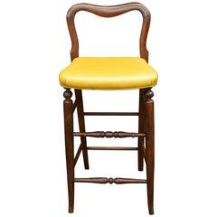 Yellow Upholstered Mahogany Bar Stool
