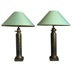 Pair French Column Oil Lamps