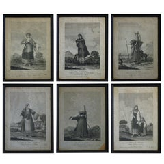 Set of Six Engravings of Italian Regional Dress