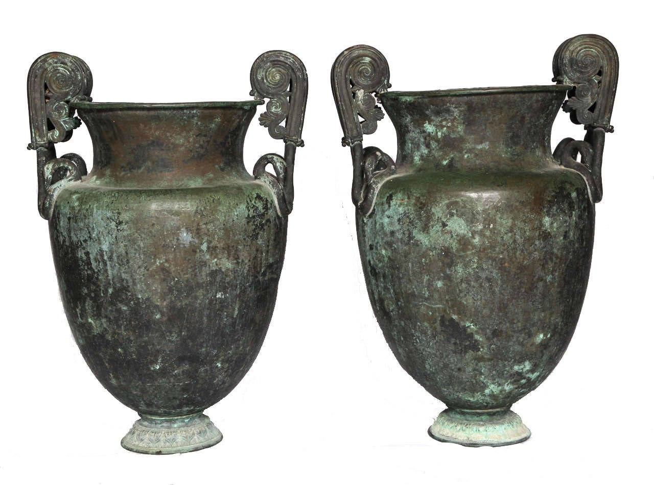 Italian Pair of Large Neoclassical Urns For Sale