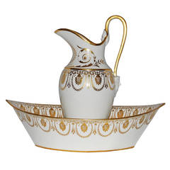 French Porcelain Water Pitcher and Basin