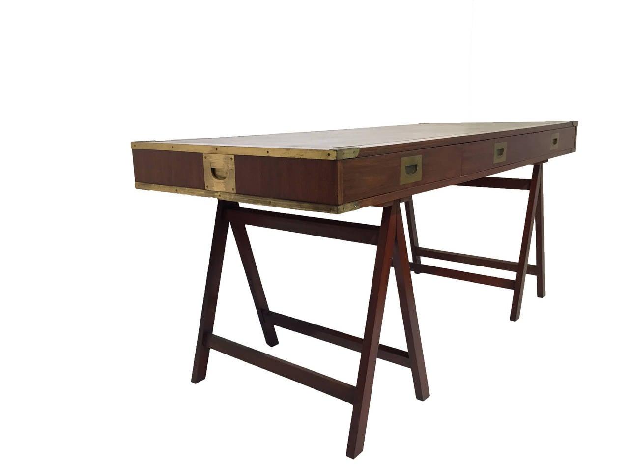 japanese writing desk Oak classical 1900 antique writing desk or library table, fluted legs $995 midcentury modern 1960 vintage mahogany scandinavian cabinet desk $1,975.