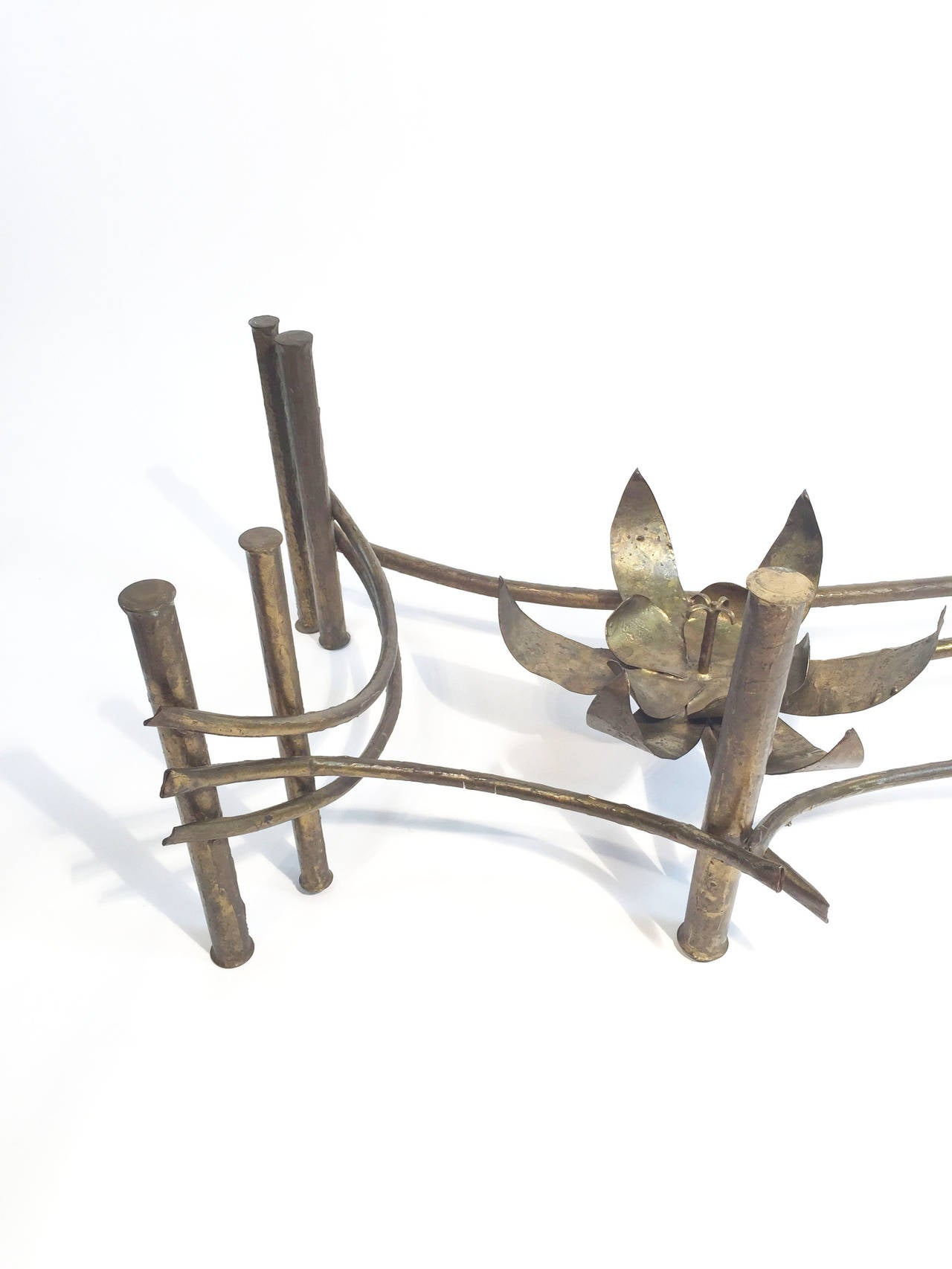 Brutalist Patinated Brass Lotus Coffee Table by Silas Seandel at