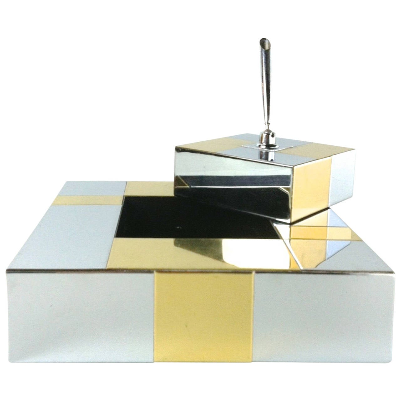 Paul Evans 1970s Chrome and Brass Desk Set Directional 1