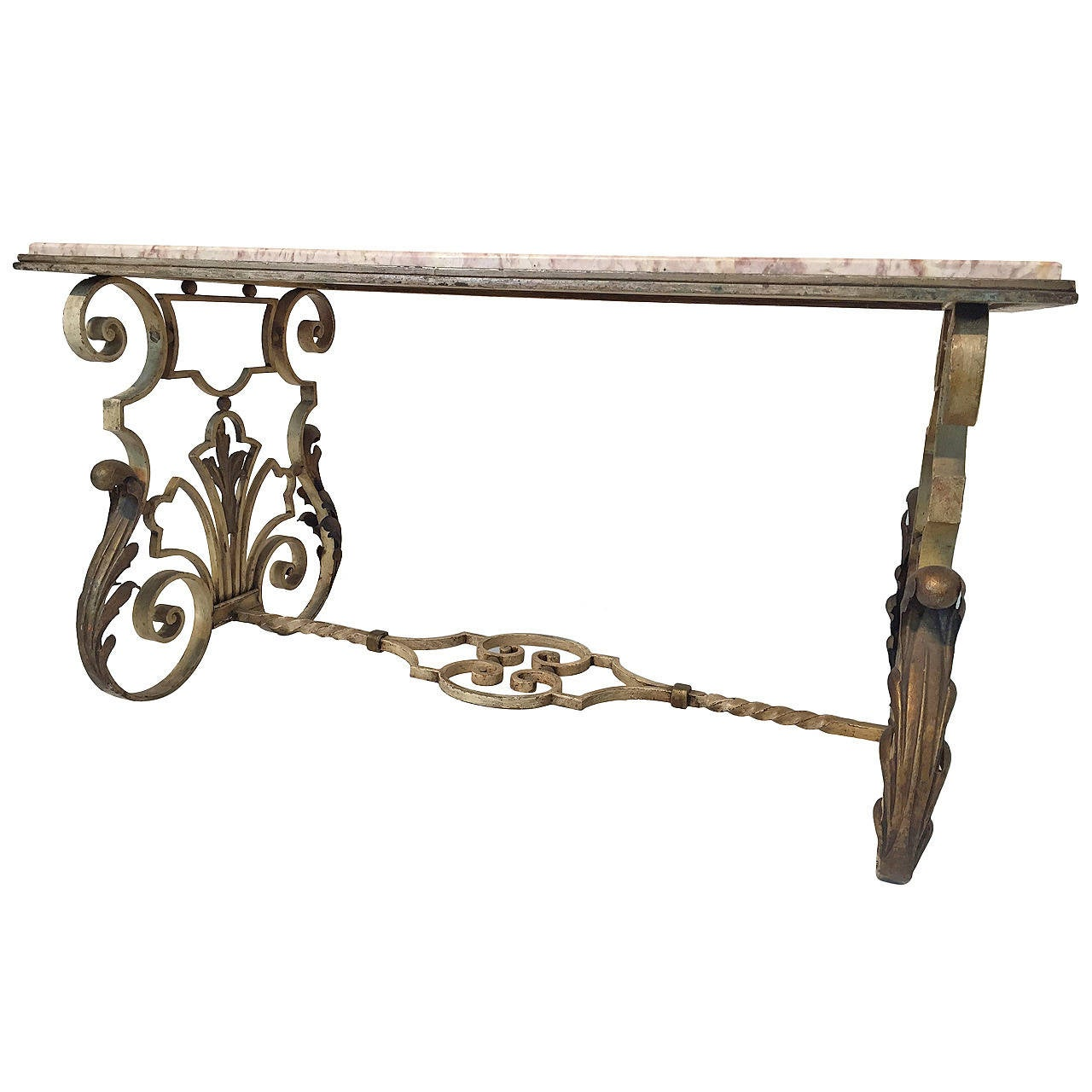 Rococo revival cast iron table at 1stdibs for Cast iron end table