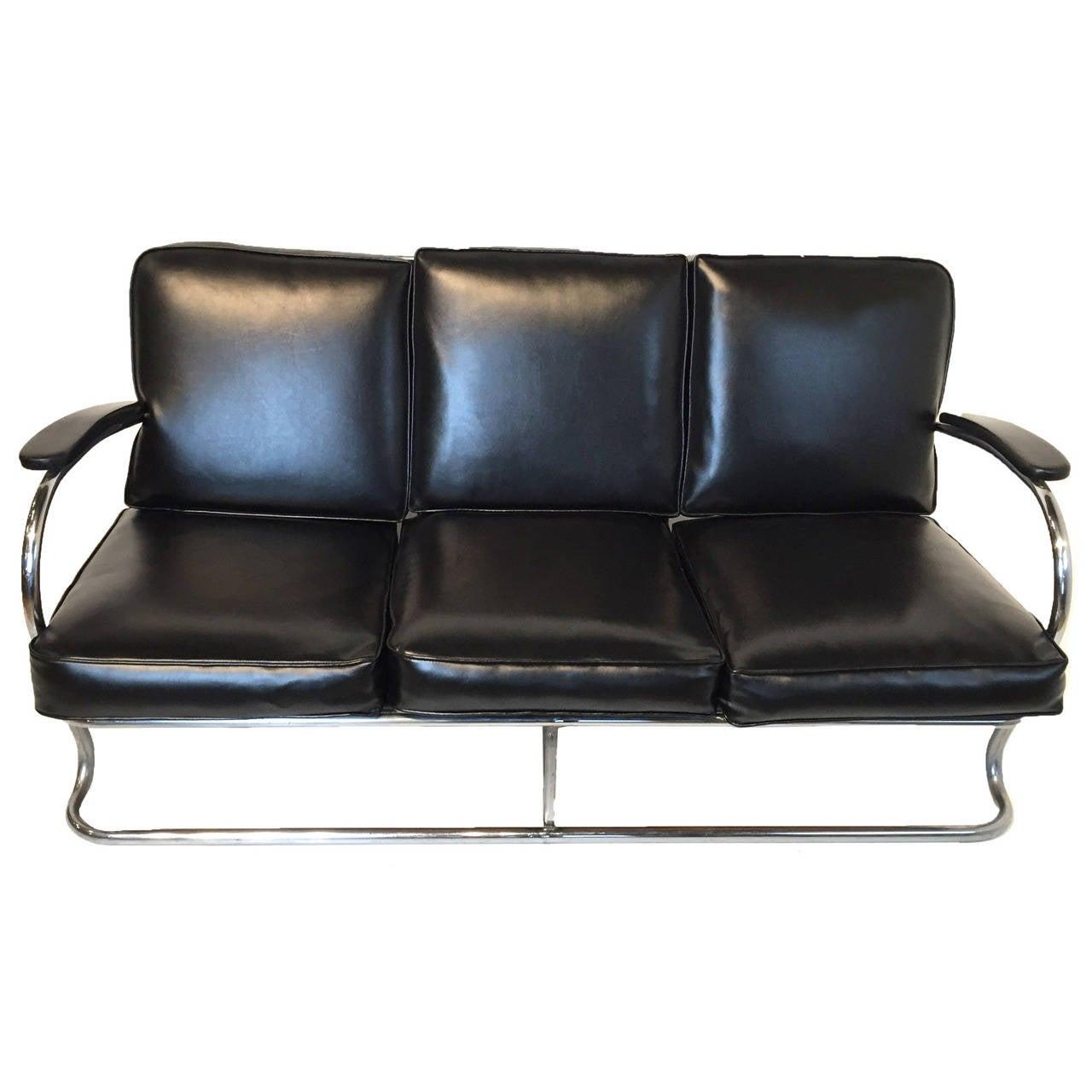 Tubular Chrome Art Deco Sofa In The Style Of Kem Weber At