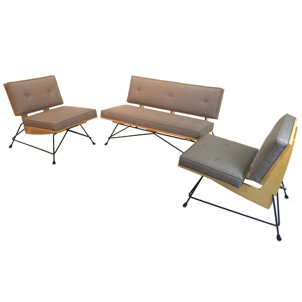California Modern Settee And Two Chairs In The Manner Of Luther Conover 1
