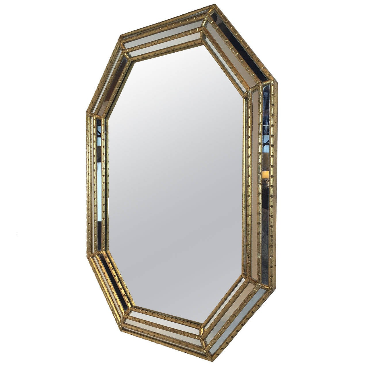 hexagonal faux bamboo beveled mirror by la barge 1