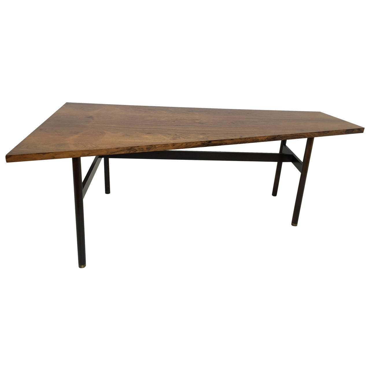 Rosewood trapezoid table or desk in the manner of edward for Trapezoid table