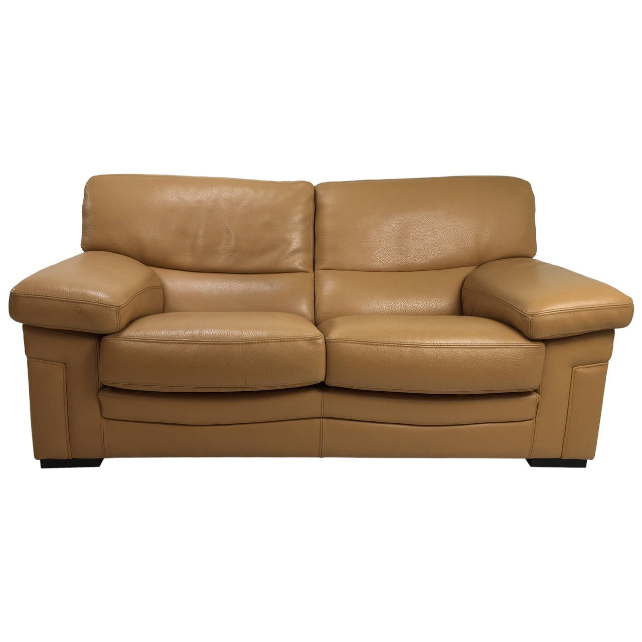 pair of roche bobois sofas in caramel leather at 1stdibs. Black Bedroom Furniture Sets. Home Design Ideas