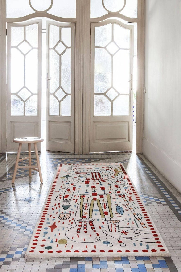 This is one of three wool rugs in Nanimarquina's Nani x Hayon collection designed by Jaime Hayon. Created with the hand tufting technique, a manually operated pistol injects pieces of wool, intuitive and fluid lines are achieved, as well as an
