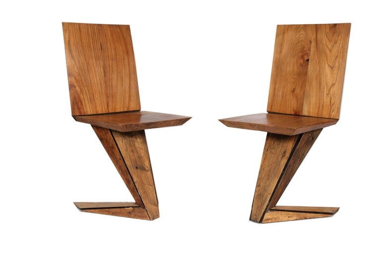 Modern Italian Steel Chair Cladded in 18th Century Pinus Cembra Treated For Sale