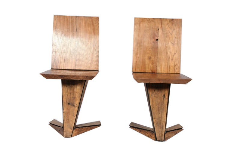 Italian Steel Chair Cladded in 18th Century Pinus Cembra Treated In New Condition For Sale In NEW YORK, NY