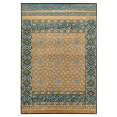 """Mahtab Bagh"" Blue Beige Hand-knotted Area Rug in Wool, Silk, In Stock"