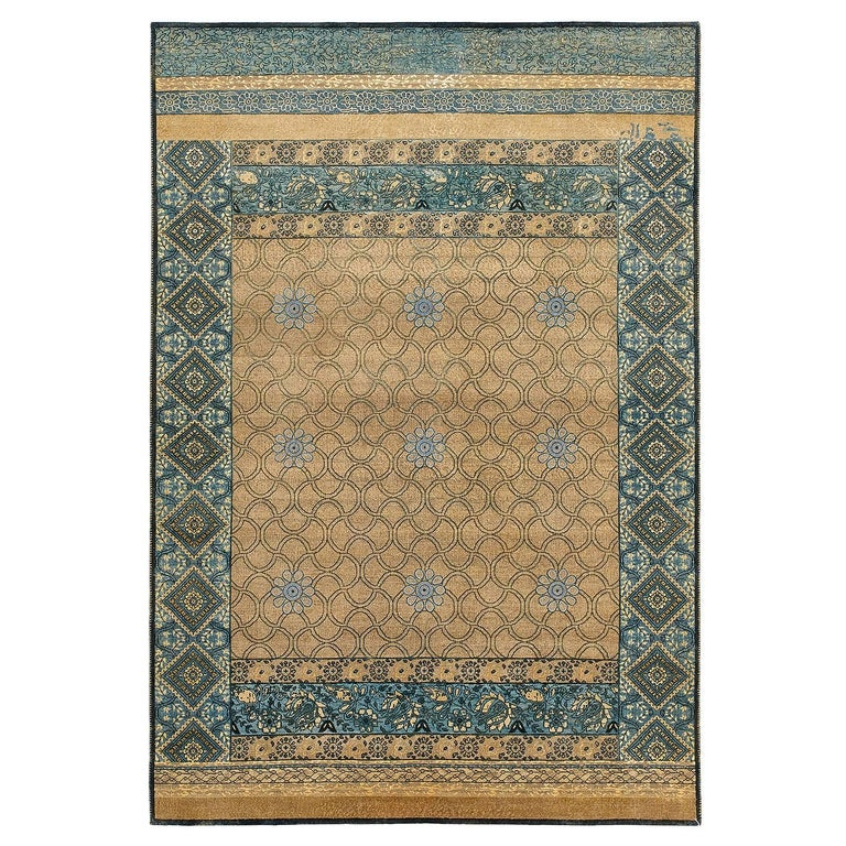 """Rugs Made In India For Sale: """"Mahtab Bagh"""" Blue Beige Hand-knotted Area Rug In Wool"""