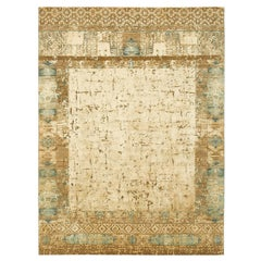 """Windswept"" Beige Hand-knotted Area Rug Wool, Silk, In Stock"
