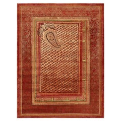 """Paisley Panorama"" Red Hand-knotted Area Rug Wool, Silk, In Stock"
