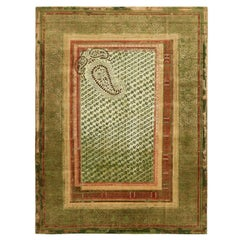 """Paisley Panorama"" Green Hand-knotted Area Rug Wool, Silk Rug, In Stock"