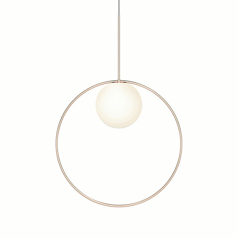 For Sale: Pink (Rose Gold) Bola Halo Pendant Light by Pablo Designs