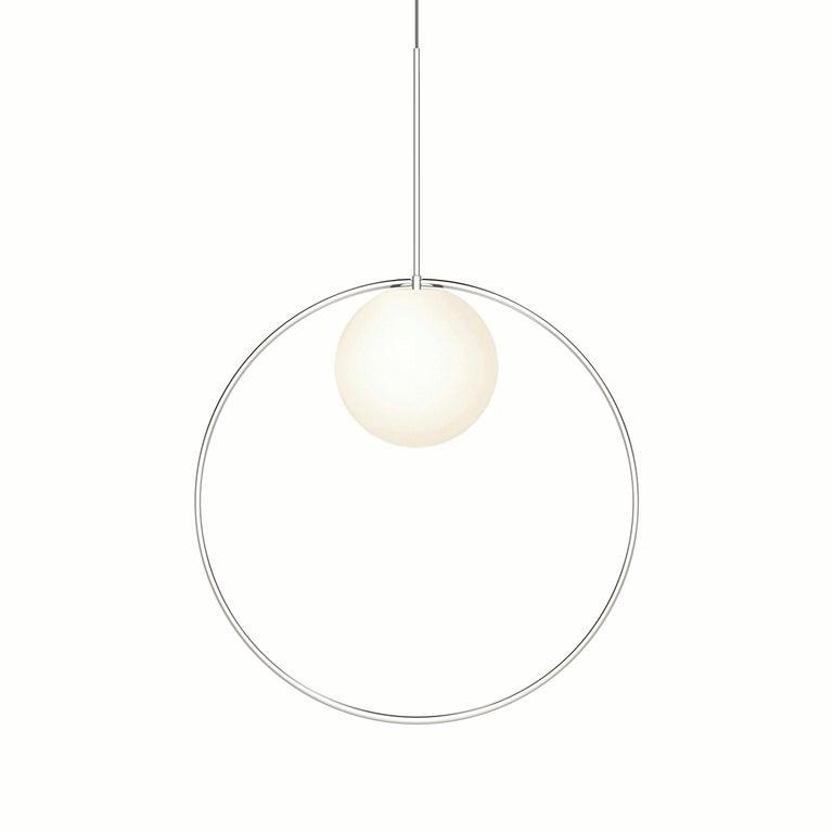For Sale: Silver (Chrome) Bola Halo Pendant Light by Pablo Designs
