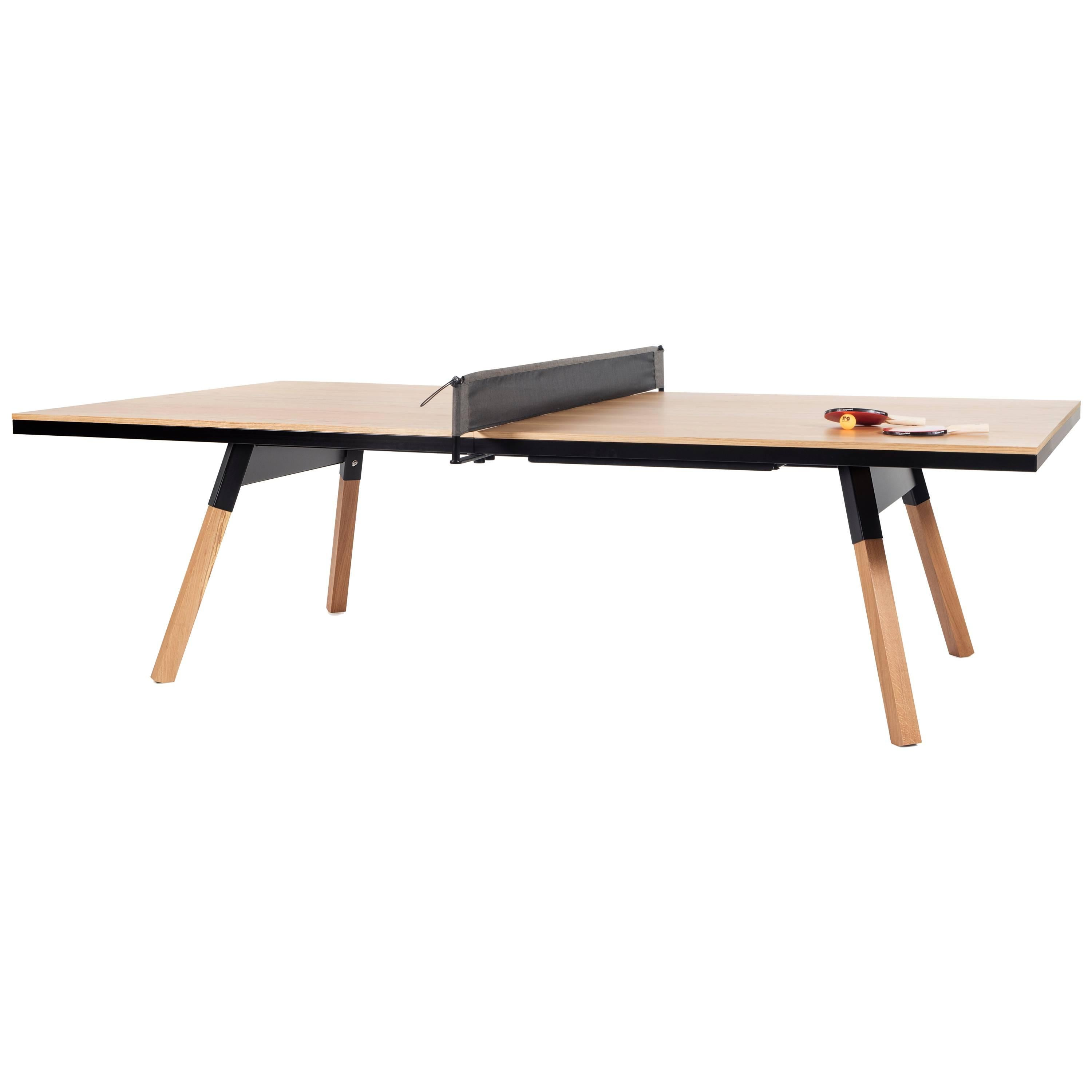 You and Me Wooden Top Standard Ping-Pong Table in Oak and Black by RS Barcelona