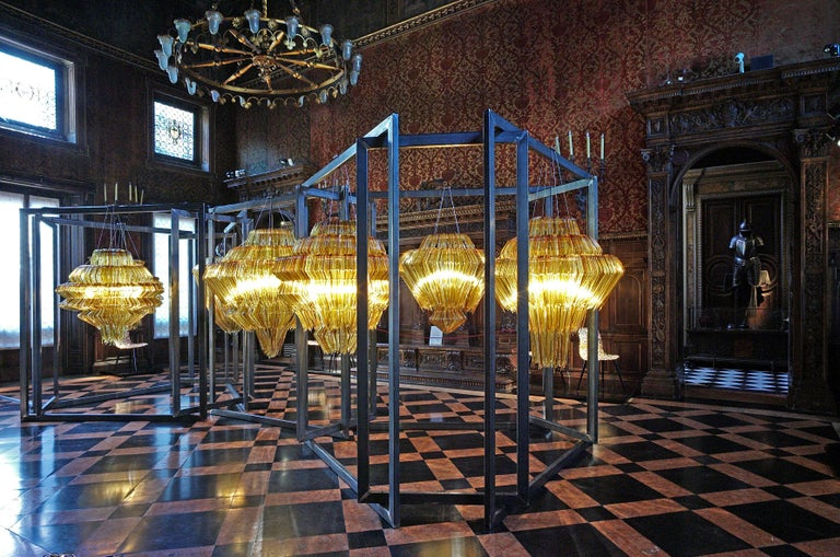 Modern Brilli D Chandelier in Gold Resin by Jacopo Foggini For Sale