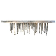 Custom One of a Kind Solid Zinc Sculptural Dining Table