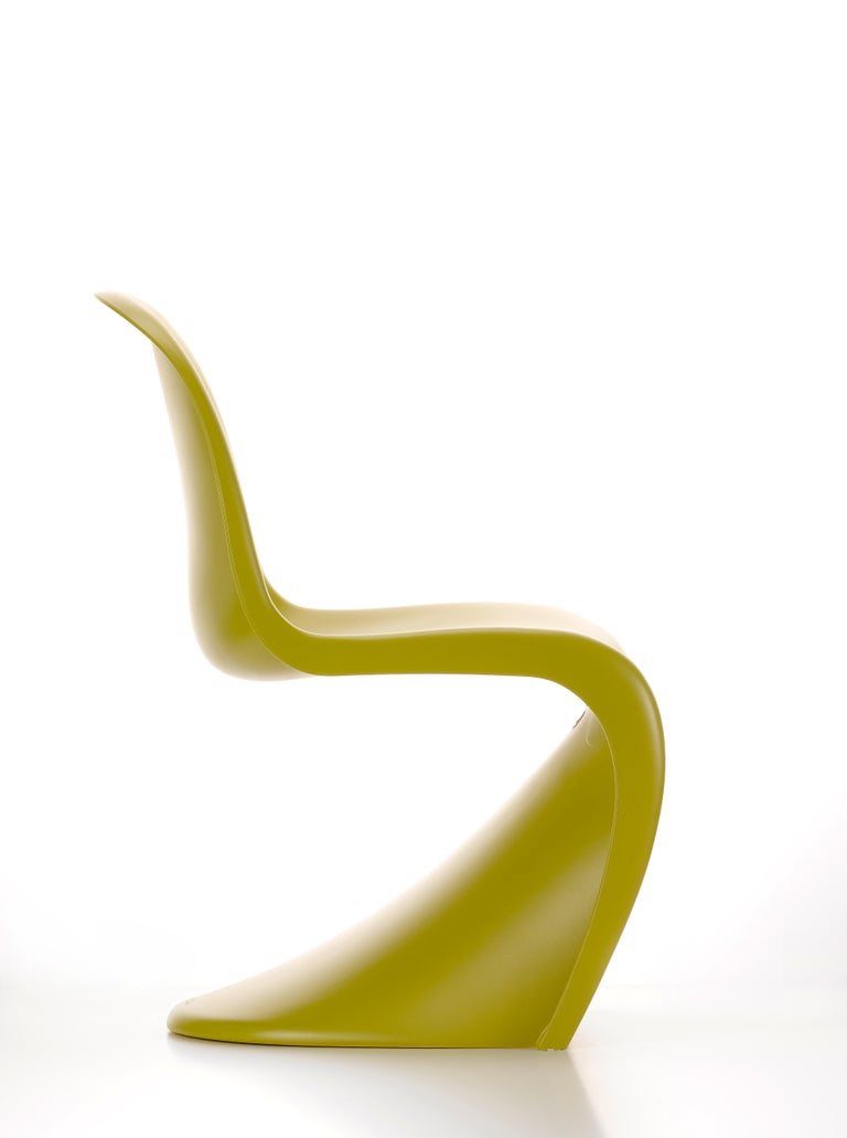 Swiss Vitra Panton Chair in Chartreuse by Verner Panton For Sale