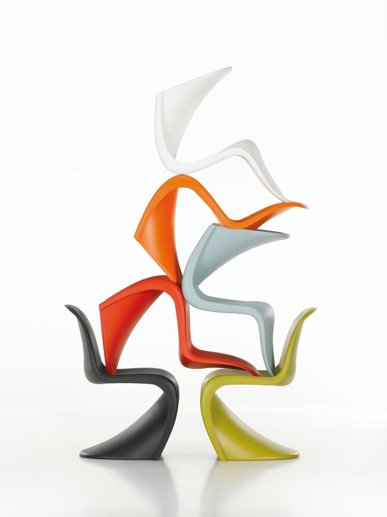 Contemporary Vitra Panton Chair in Chartreuse by Verner Panton For Sale
