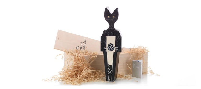 Hand-Painted Vitra Wooden Extra Large Doll Cat by Alexander Girard For Sale