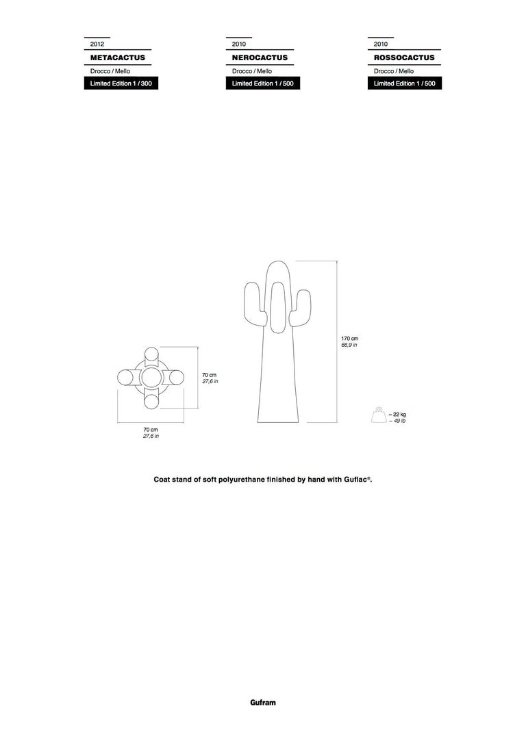 GUFRAM Nerocactus Sculptural Coatrack by Drocco & Mello - 1stdibs New York In New Condition For Sale In Barolo, IT