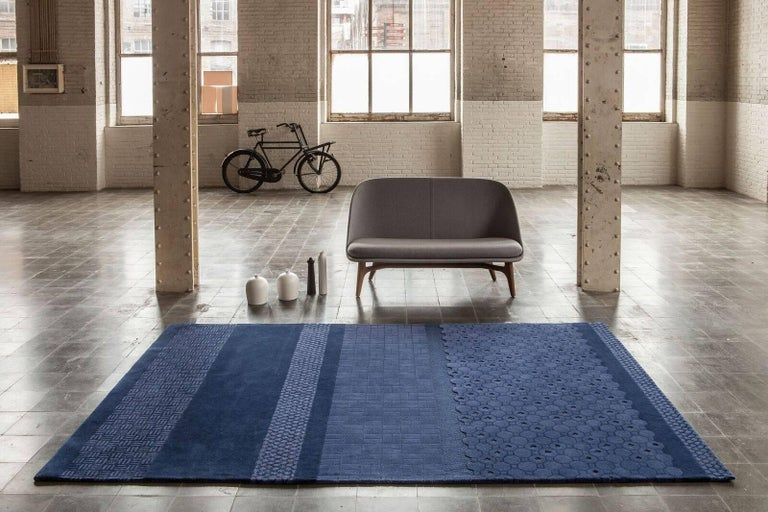 Indian Blue Jie Hand-Tufted Wool Area Rug by Neri & Hu Large For Sale