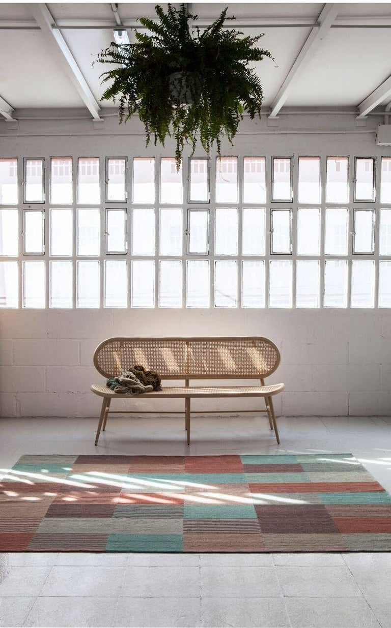 Modern Blend 2 Hand-Loomed Afghan Wool Rug by Raw Color in Stock For Sale