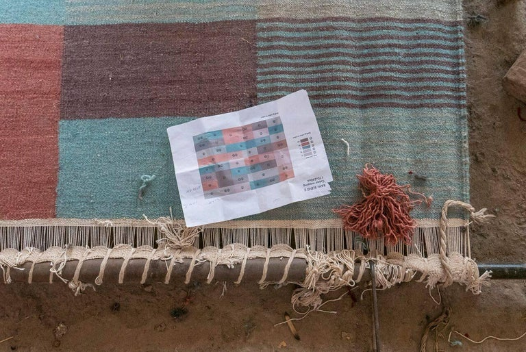 Blend 2 Hand-Loomed Afghan Wool Rug by Raw Color in Stock In New Condition For Sale In New York, NY