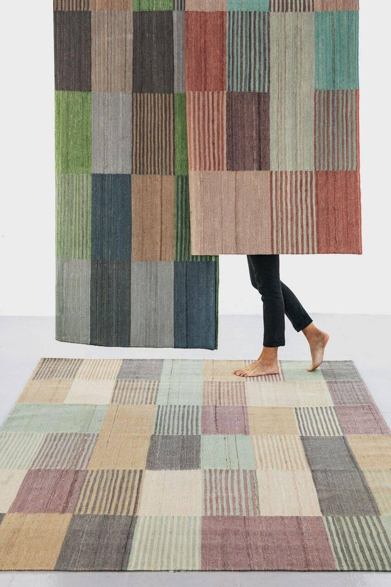 Contemporary Blend 2 Hand-Loomed Afghan Wool Rug by Raw Color in Stock For Sale