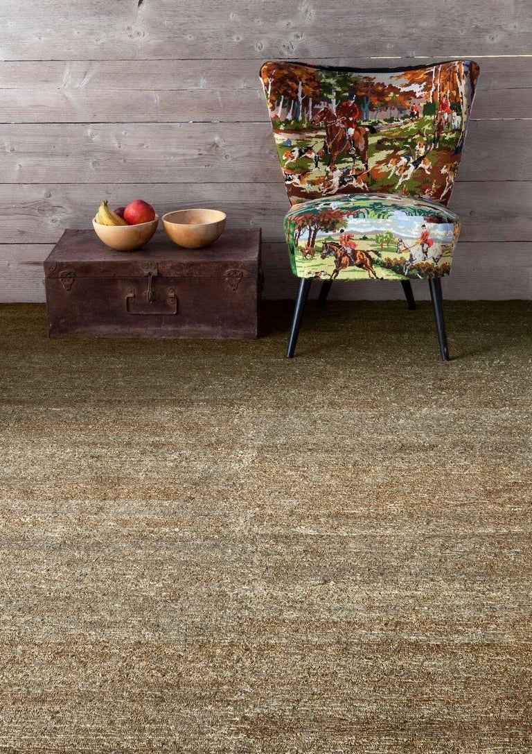 Modern Khaki Earth Rug in Hand-Knotted Jute by Nani Marquina & Ariadna Miquel, Large For Sale