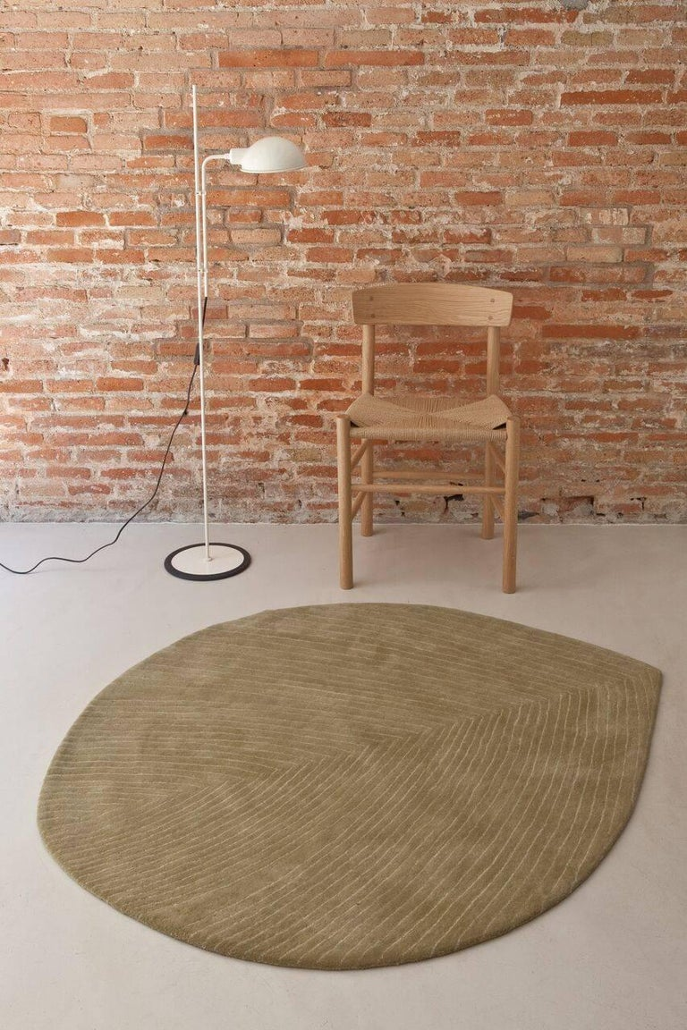 Indian Quill Medium Sage Green Hand-Tufted Rug Nao Tamura in Stock For Sale